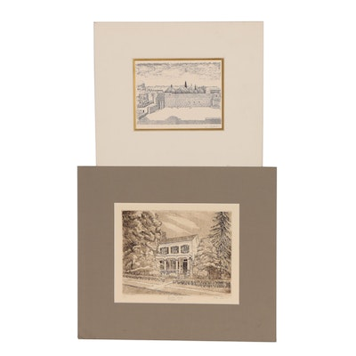 "Etching with Aquatint ""Einstein House, Princeton, N.J."" and More"