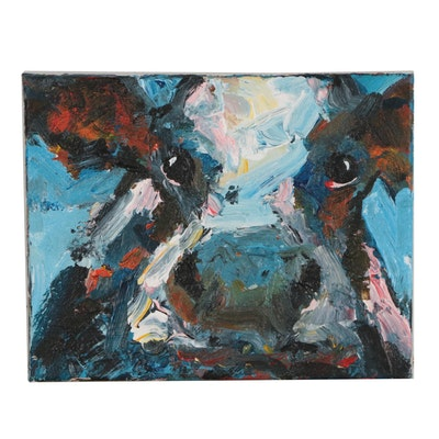 Elle Raines Acrylic Cow Portrait Painting