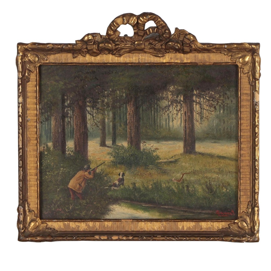Sauret Oil Painting of Hunting Scene, Early 20th Century