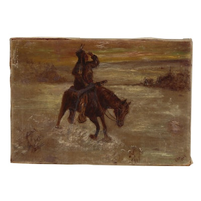 Early 20th Century Western Genre Oil Painting, 1904