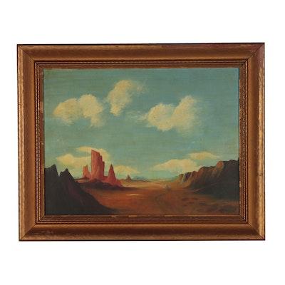 "J.F. Trump Landscape Oil Painting ""Arizona"", 1940"
