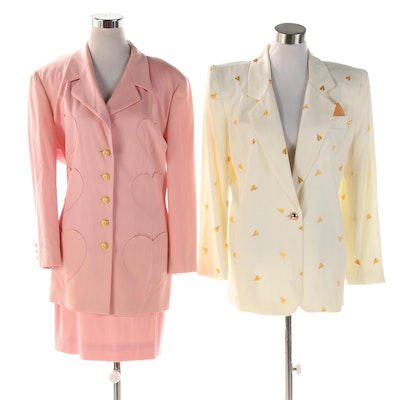 Escada Pink Heart Skirt Suit and Gold Metallic Heart Embroidered White Jacket