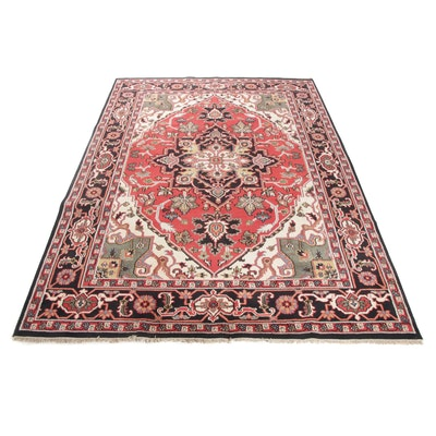 8'11 x 12'4 Hand-Knotted Indo-Persian Heriz Serapi Room Sized Rug