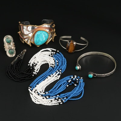 Multi-Gemstone Jewelry Featuring Southwestern Style Multi-Strand Necklace