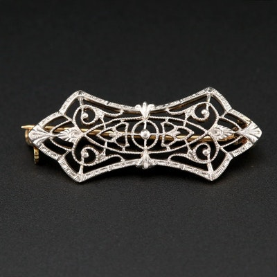 Edwardian 14K Yellow Gold and Platinum Filigree Brooch