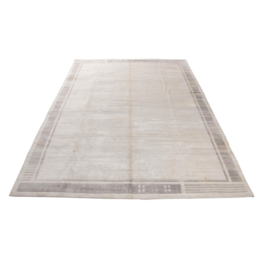 9'9 x 13'8 Hand-Knotted Indo-Persian Gabbeh Room Sized Wool Rug