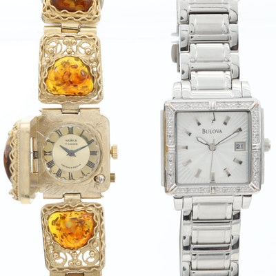 Russian Yanka Amber Wristwatch With Bulova Diamond Wristwatch