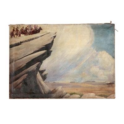 Edwin Willard Deming Western Oil Painting of Figural Landscape
