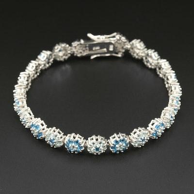 Sterling Silver Faceted Glass Floral Motif Bracelet