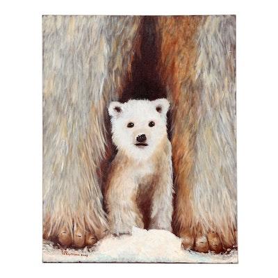 Earl LeRoy Taylor Acrylic Painting of Polar Bears