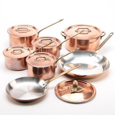 French Copper Skillets and Sauce Pans With Lids Featuring Williams Sonoma