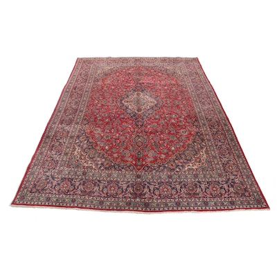 9'8 x 12'11 Hand-Knotted Persian Mashad Room Sized Wool Rug, 1970s