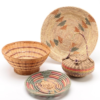Collection of Woven Baskets, Bowls and Carry Bag