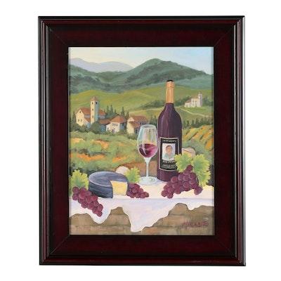 """Mary Mirabito Oil Painting """"Vineyard Scene"""""""