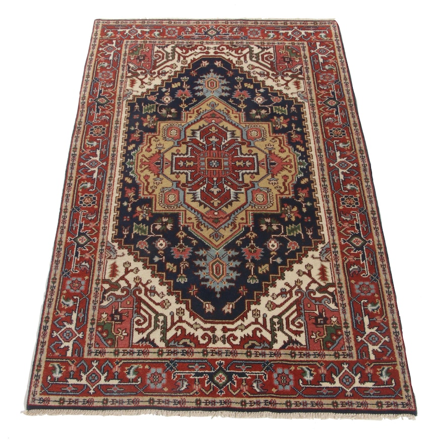 4'11 x 8'1 Hand-Knotted Indo-Persian Heriz Serapi Wool Rug