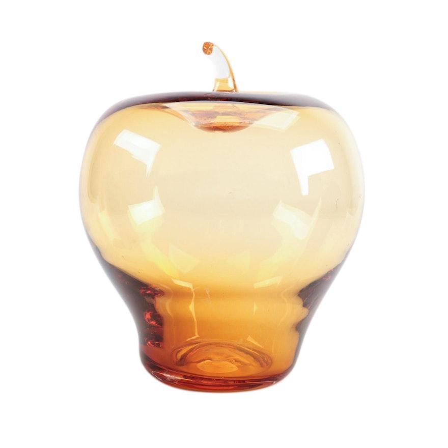 Hand Blown Amber Art Glass Apple