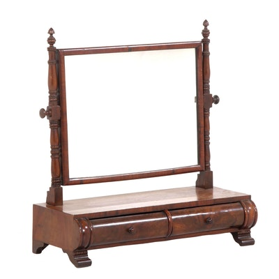 Antique Oak Framed Mirror Ebth