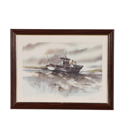 Robert Fabe Offset Lithograph of Fishing Boat