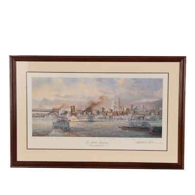 "Michael Blaser Offset Lithograph ""The Public Landing of Cincinnati, 1935"""