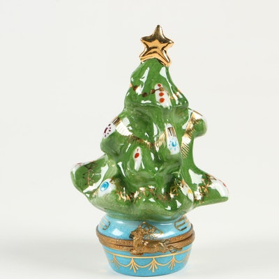 Hand-Painted Porcelain Christmas Tree Limoges Box