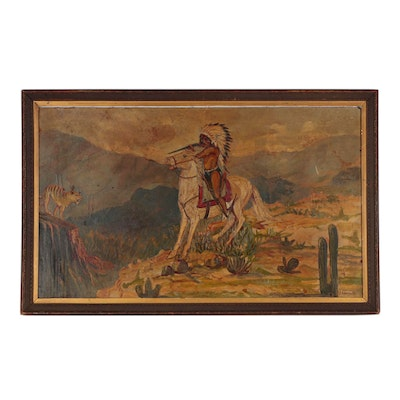 Oil Painting of Native American Battle Scene, Early 20th Century