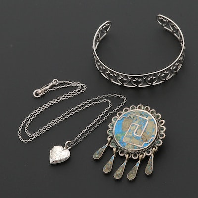 Sterling Silver Bracelet and Necklace with Mexican Converter Brooch