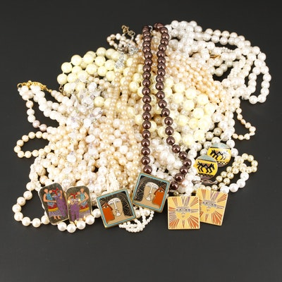 Assorted Gemstone Jewelry Including Beaded Necklaces and Sterling Silver