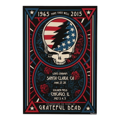 """Grateful Dead """"Fare Thee Well"""" Tour Offset Lithograph Poster, 2015"""
