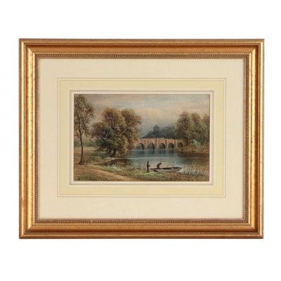 W.P.H. Foster Watercolor Painting of River Scene with Fishermen
