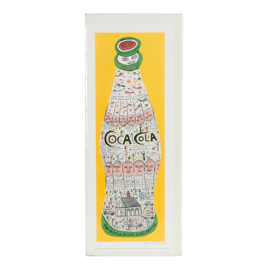 "Howard Finster Offset Lithograph ""Mr. Coke"", 1989"