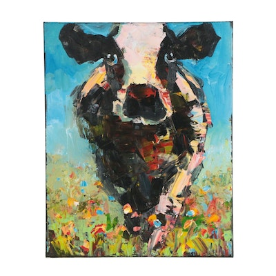 Elle Raines Acrylic Painting of Cow in Meadow