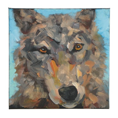 Elle Raines Acrylic Painting of Wolf