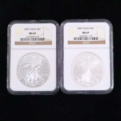 NGC Graded MS69 2002 and 2007 American Silver Eagle bullion coins