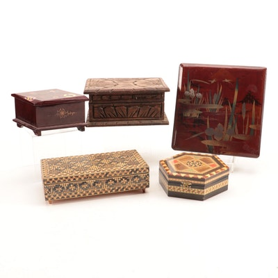 Decorative Wooden Storage and Music Boxes With Enamel Accents