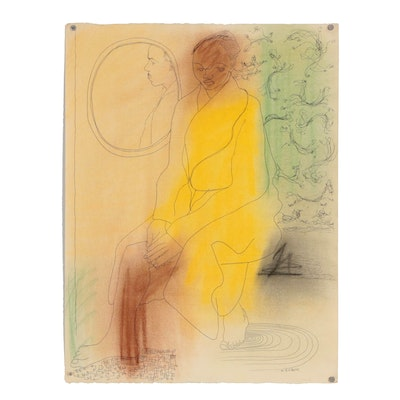 W. Glen Davis Figural Mixed Media Drawing