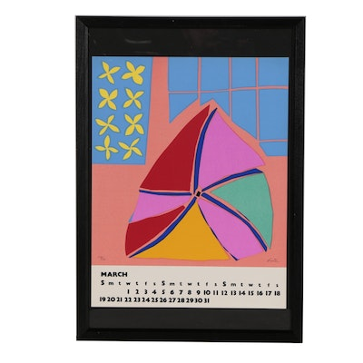 Peter Lister Abstract Modernist Serigraph Calendar Page, Mid 20th Century