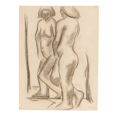 W. Glen Davis Figural Charcoal Drawing