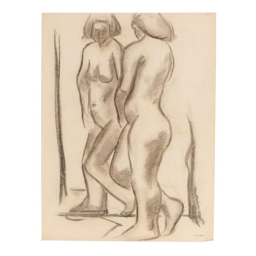 W. Glen Davis Figural Charcoal Drawing