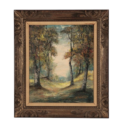 Woodland Landscape Oil Painting, Mid 20th Century