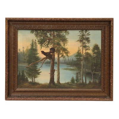 Oil Painting of Wood Grouse in Forested Landscape