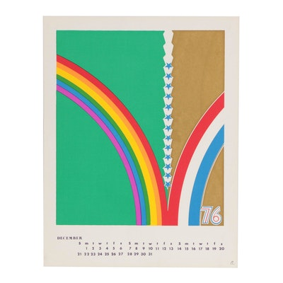 Peter Lister Abstract Rainbow Serigraph Calendar Page, Mid 20th Century