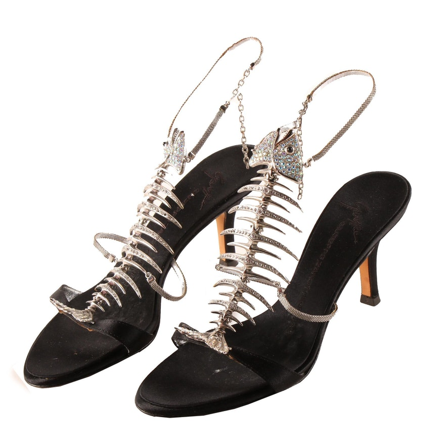 "Giuseppe Zanotti Fishbone ""Slim"" Black Satin Sandals with Hand-Set Rhinestones"