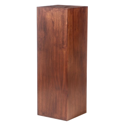 Mahogany Square Pedestal Stand, Mid to Late 20th Century