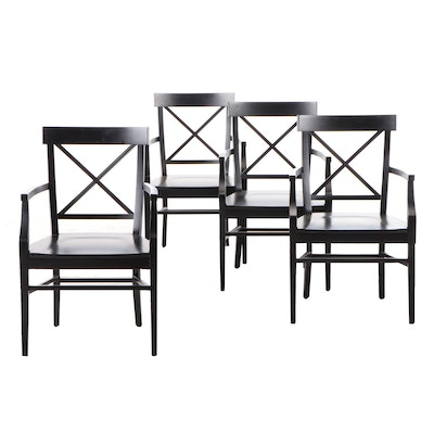 Pottery Barn Ebonized Dining Arm Chairs, Contemporary