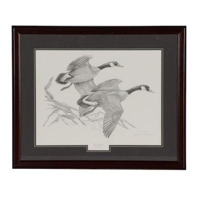 """John A. Ruthven Offset Lithograph """"Canada Geese"""""""
