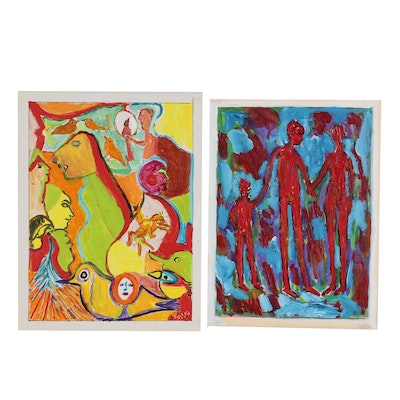 Charles Tullio Abstract Figural Acrylic Paintings