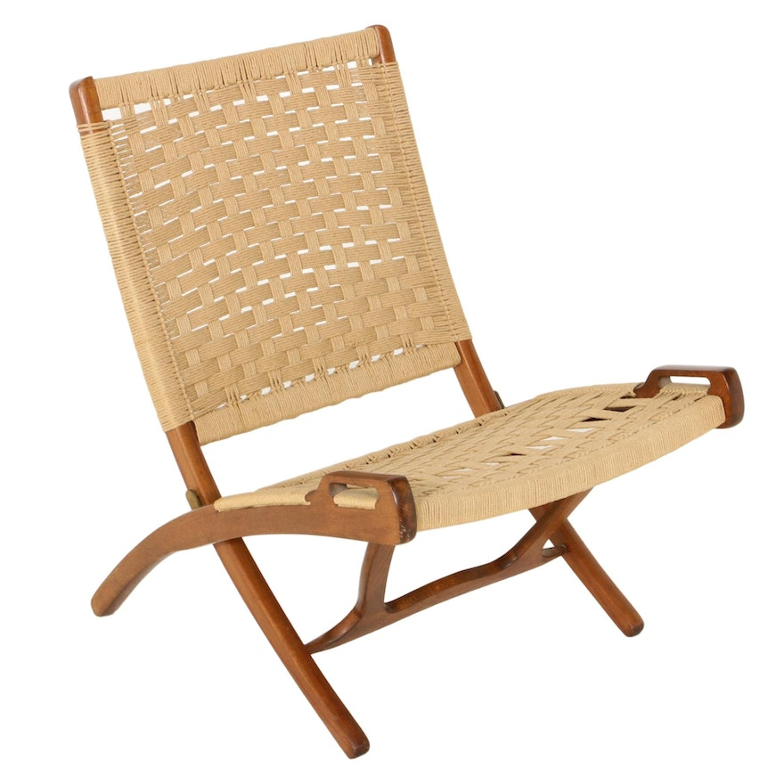 Folding Rope Chair in the Style of Hans Wegner, Mid-20th Century