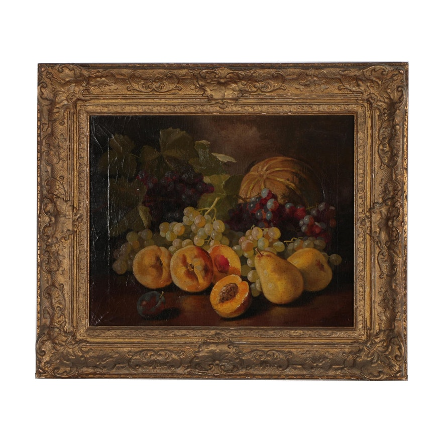 John Clinton Spencer Still Life Oil Painting of Fruit