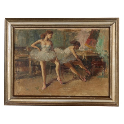 Oil Painting of Ballet Dancers, Mid 20th Century