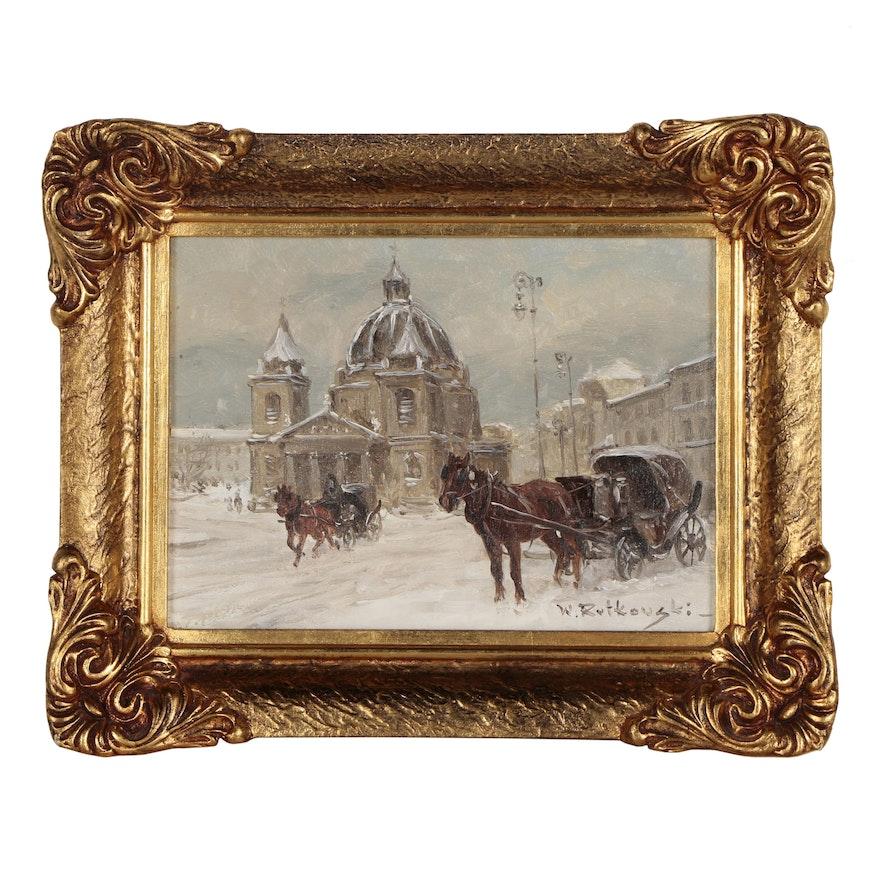 Wojciech Rutkowski Winter Street Scene Oil Painting